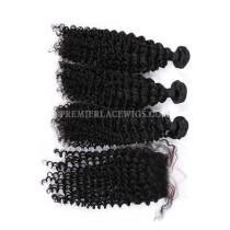 Deep Wave Virgin Indian Human Hair Extension A Silk Base Closure with 3 Bundles Deal