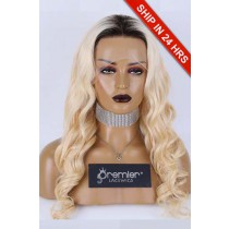 22 inches Blonde Hair Dark Roots Lace Front Wig, Indian Remy Human Hair Body Wave 180% Medium Size, Pre-plucked hairline