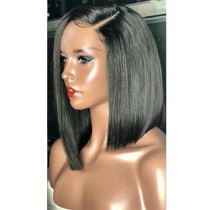 Yaki Textured Bob Silk Top Lace Front Wig,Shoulder Length Asymmetrical Side Part,Indian Remy Hair
