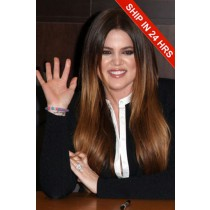 Khloe Kardashian Long Style Ombre Brown Hair Celebrity Lace Wigs