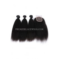 Indian Virgin Human Hair Kinky Straight A Lace Closure With 3 Bundles Deal