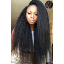 "Indian Remy Hair Kinky Straight,4.5"" Super Deep C Side Part Lace Front Wigs"