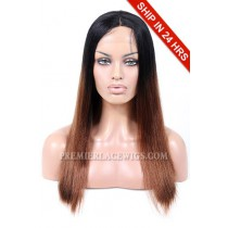 Indian Remy Hair Middle Part Long Style Ombre Brown Color Yaki Straight Affordable Glueless Lace Part Wigs