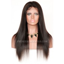 Brazilian Virgin Hair Full Lace Wigs Light Yaki natural color