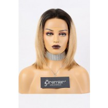13x3 Lace Frontal Wig Bob Yaki Straight,Blonde Ombre Hair