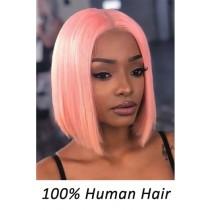 Pink Color Blunt Cut Bob