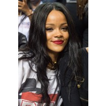 Rihanna Long Style Black Hair Straight Human Hair Celebrity Lace Wigs