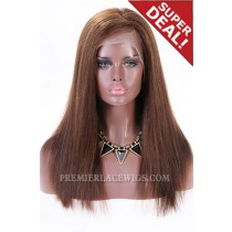 Full Lace Wigs Side Part 4/30# Highlight,Indian Remy Hair,18 inches,Yaki Straight