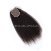 Peruvian Virgin Hair Silk Base Closure 4x4inches Kinky Straight