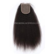 Brazilian Virgin Hair Silk Base Closure 4x4inches Kinky Straight