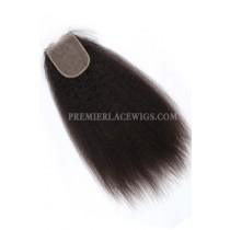 Indian Virgin Hair Silk Base Closure 4x4inches Kinky Straight