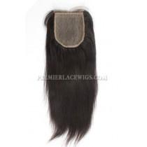 Brazilian Virgin Hair Silk Base Closure 4x4inches Yaki Straight