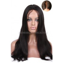 Brazilian Virgin Hair Glueless Silk Top Lace Front Wigs Natural Straight