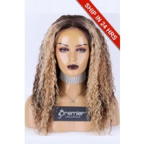 Silk Top Full Lace Wig Yaki Curly, Indian Remy Human Hair Blonde Highlights 18 inches 120% Medium size