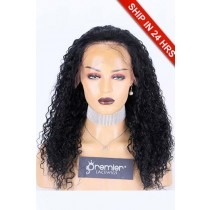"""18 inches Curly 13""""x4"""" HD Transparent Lace Front Wig, Indian Remy Human Hair 1# 180%  Average Size, Removable elastic band"""