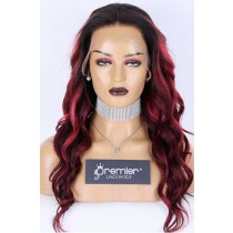 Clearance Sale 360 Lace Wig,Burgundy Color Wavy Indian Remy Human Hair 22inches 150% Medium Size,Pre-plucked hairline