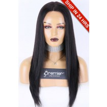 """Relaxed Hair Yaki Texture 13""""x4.5"""" Lace Front Wigs"""