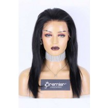 Clearance Sale Lace Front Wig Silky Straight,Indian Remy Human Hair 1# 14inches 150% Medium Size