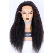 Clearance Sale Lace Front Wig Kinky Straight,Indian Remy Human Hair Natural Color 24inches 180% Medium Size, Pre-bleached knots