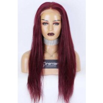 """Clearance Sale 5""""×5"""" HD Lace Closure Wig,Burgundy Hair Color #99J,Indian Remy Human Hair Silky Straight 22inches 150% Medium Size,Pre-plucked hairline"""