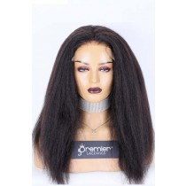 """Clearance Sale 5""""×5"""" HD Lace Closure Wig,Indian Remy Human Hair Natural Color Kinky Straight 18inches 150% Medium Size,Pre-bleached knots,Pre-plucked hairline, Removable elastic band"""