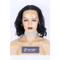 """Clearance Sale Wavy Bob 13""""×6"""" Lace Front Wig Indian Remy Human Hair 1# 12inches 150% Medium Size,Pre-plucked hairline, Removable elastic band"""