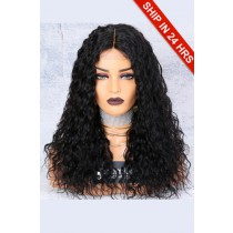 150% Density Affordable Lace Wig Wet Wavy Indian Remy Hair,1B#  Color, Middle Part, Average Cap Size,Lace Base Parting