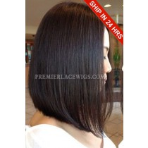 Trendy Long Bob Hairstyle Black Color Virgin Hair Lace Front Wig