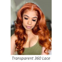 Ginger Hair Transparent Lace 360 Lace Wigs,