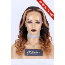 """16 inches Highlights Ombre Wavy Human Hair 13""""×6"""" Lace Front Wig,150% Average size,Pre-bleached knots"""