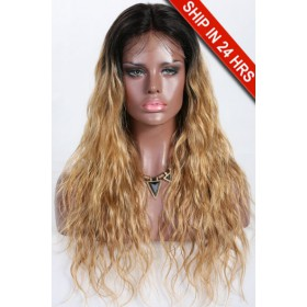 Kayla- 13x3 Lace Frontal Wig Blonde Ombre Wavy Style Indian Remy Hair 20 inches,150% Density,Average Size,Removable Elastic Bands