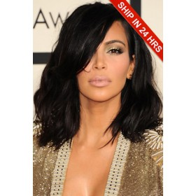 Kim Kardashian Shoulder Length Haircut Messy Bob Lace Front Wig