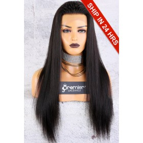 Affordable 13x4.5 Lace Frontal Wig,Yaki Straight Indian Remy Hair Natural Color,150% Thick Density [Advanced Pre-Bleached Knots,Pre-Plucked Hairline,Pre-Added Removable Elastic Band]