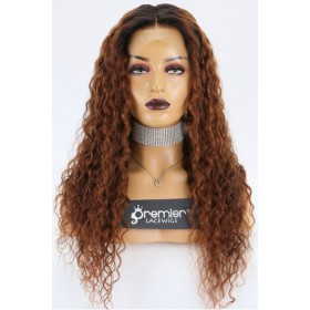 Courtney-- Medium Brown Curly Hair Dark Roots 360 Lace Wig. Pre-bleached Knots, Pre-plucked Hairline,Removable Elastic Band