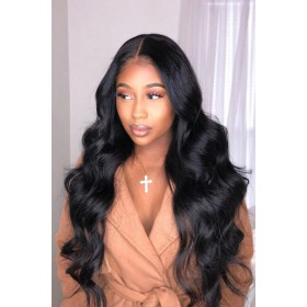"Body Wave 13""x6"" Deep Part Lace Frontal Wig. [Pre-bleached knots only for natural black,Pre-plucked hairline,Removable elastic band]"