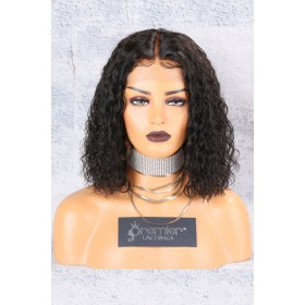 "Textured Natural Curls Bob 12 inches 13""x6"" Lace Frontal Wig [Pre-bleached knots,Pre-plucked hairline,Removable elastic band]"