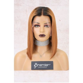 """Luxury Copper Hair Bob 4.5"""" Lace Front Wig,Virgin Human Hair Silky Straight [Pre-Bleached Knots,Pre-Plucked Hairline,Removable Elastic Band]"""