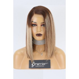 """Sheila--Bob Cut Ombre Straight Hair Blonde Highlights 13""""x4"""" Lace Frontal Wig, Average Size,14 inches 130% Normal Density"""