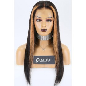 Sasha-- Highlights Color Bone Straight Human Hair 360 Lace Wigs. Pre-bleached Knots,Pre-plucked Hairline,Removable Elastic Band