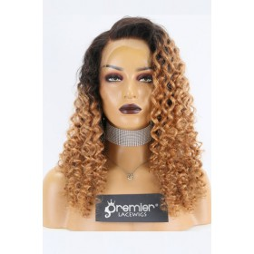 Dominique-- Blonde Ombre Curly Hair 360 Lace Wig. Pre-bleached Knots,Pre-plucked Hairline,Removable Elastic Band