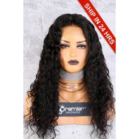 Affordable 13x6 inches Lace Frontal Wig,Curly Style 20 inches,Indian Remy Hair Natural Color,150% Thick Density [Advanced Pre-Bleached Knots,Pre-Plucked Hairline,Pre-Added Removable Elastic Band]
