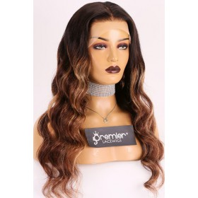 "Evelyn--Gorgeous Wavy Hair Ombre Highlights 13""x4"" Lace Frontal Wig [Pre-bleached knots, Pre-plucked hairline, Removable elastic band]"