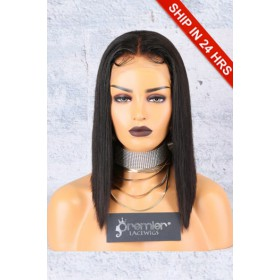"""A-Line Cut Bob Style 4.5"""" Lace Front Wig,Deep Middle Part,Pre-Plucked Hairline"""