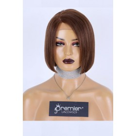 Brown Hair Highlights Bob Cut Affordable Side Part Wig,Indian Remy Human Hair Light Yaki 8 inches 150% Thick Density,Average Size,Medium Brown Lace