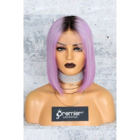"Lavender Hair Dark Roots Bob Cut,4.5"" Lace Front Wig,Silky Straight 150% Density"