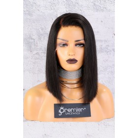 "13""x4.5"" Lace Frontal Wig,C Side Part Yaki Textured Bob,150% Thick Density [Pre-Bleached Knots,Pre-Plucked Hairline,Removable Elastic Band]"