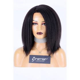 Blowout Kinky Texture Bob Style Affordable Side Part Wig,Indian Remy Human Hair 1B# Off Black Color 12 inches 150% Thick Density,Average Size,Medium Brown Lace