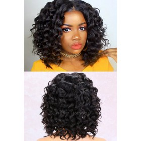 "Wand Curls Italian Yaki Textured Bob,13""x4.5"" Lace Frontal Wig,African Americans Texture [Advanced Pre-Bleached Knots,Pre-Plucked Hairline,Pre-Added Removable Elastic Band]"