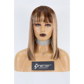 """Keri--Bangs Style Bob Cut Ombre Blonde Highlights 13""""x4"""" Lace Frontal Wig, Average Size,14 inches 150% Thick"""
