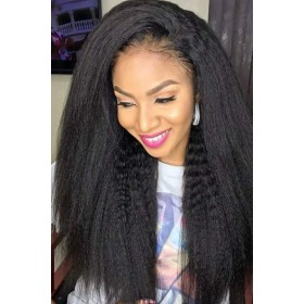 "Brianna--Invisible HD Transparent Lace, Blowout Kinky Texture,13""x6"" Lace Frontal Wig.100% Cuticles Aligned Virgin Hair, Removable Elastic Band"